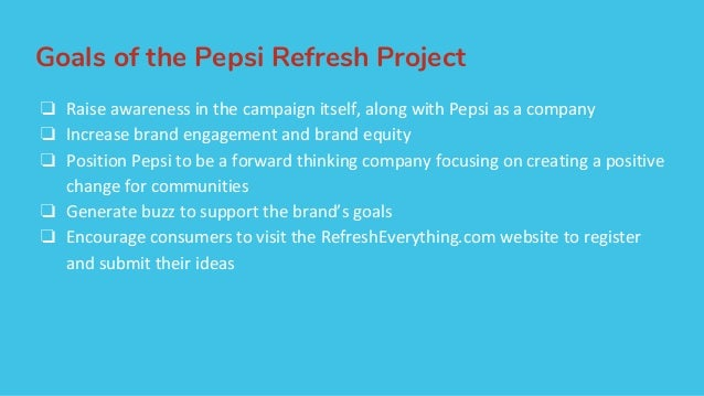 The pepsi refresh project a thirst for change