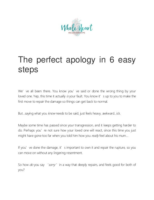 Saying the wrong things for sorry Apologies To