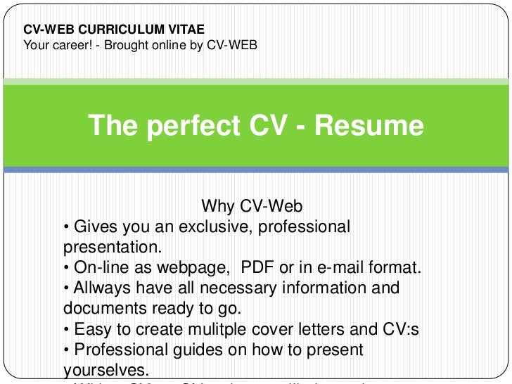 the perfect cv resume demo