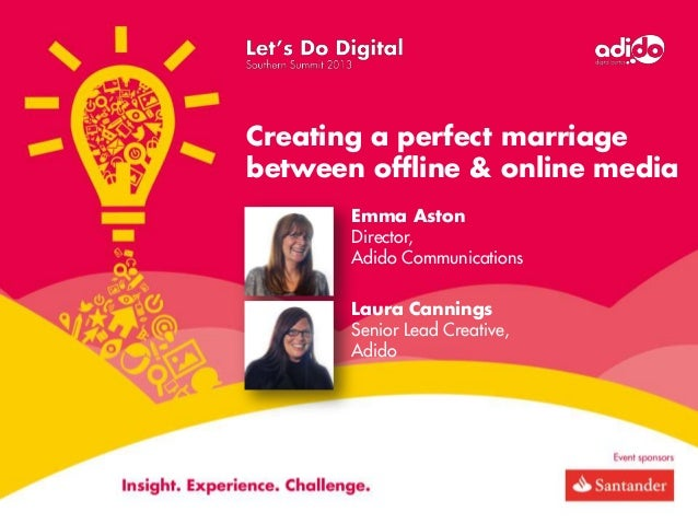 Creating a perfect marriage between offline & online media Emma Aston Director, Adido Communications Laura Cannings Senior...