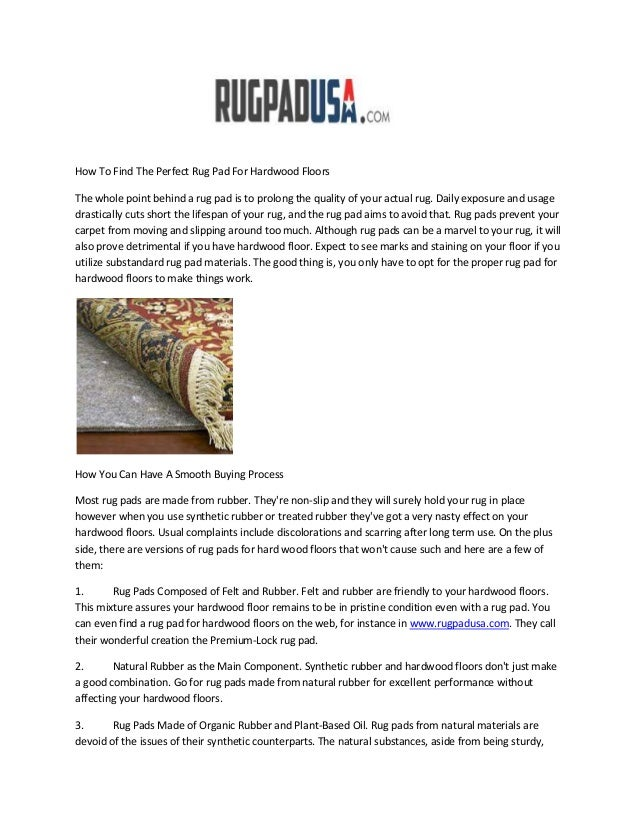 How To Find The Perfect Rug Pad For Hardwood FloorsThe whole point behind a rug pad is to prolong the quality of your actu...