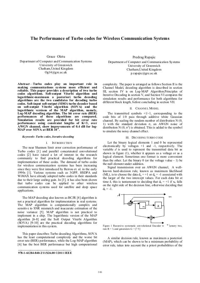 The Performance of Turbo codes for Wireless Communication Systems                       Grace Oletu                       ...