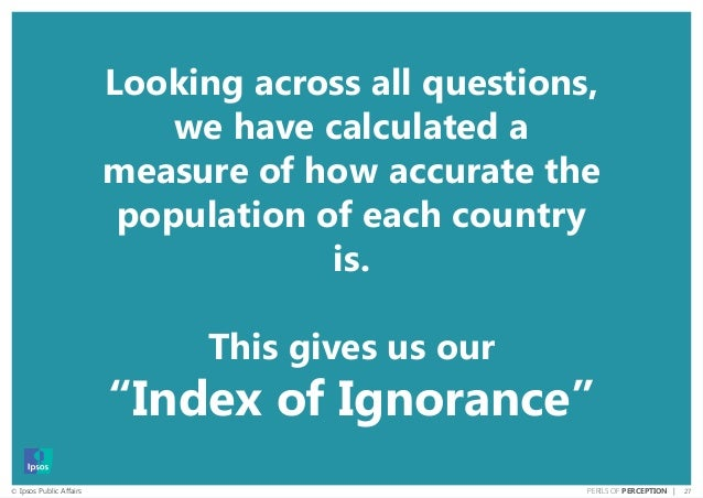 27© Ipsos Public Affairs PERILS OF PERCEPTION | Looking across all questions, we have calculated a measure of how accurate...