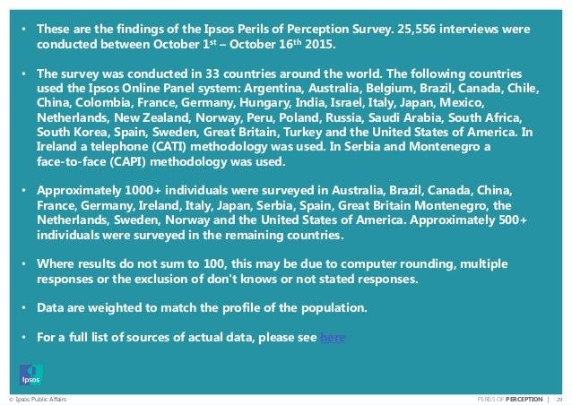 29© Ipsos Public Affairs PERILS OF PERCEPTION | • These are the findings of the Ipsos Perils of Perception Survey. 25,556 ...