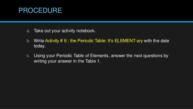 Periodic table of elements grade 7 1st quarter lets do the activity 6 urtaz Gallery