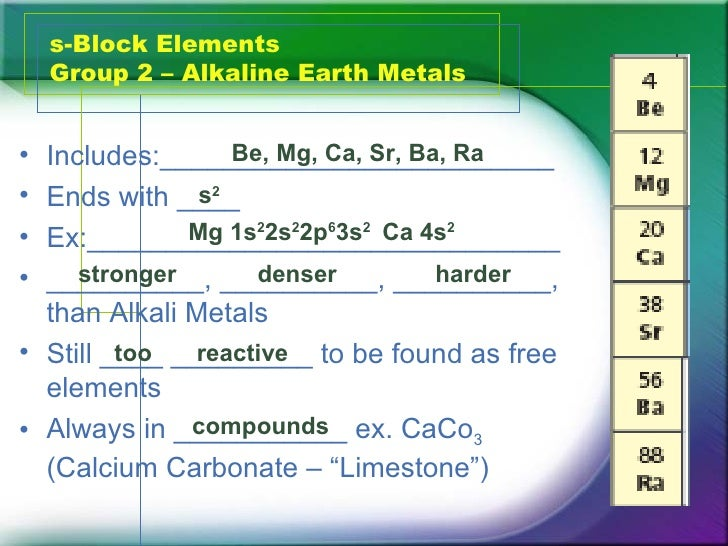 5 s block elements group 2 alkaline earth - Periodic Table Group 2 Alkaline Earth Metals