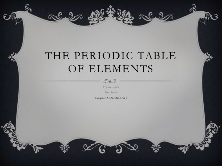 THE PERIODIC TABLE   OF ELEMENTS          6th grade Science           Mrs. Setsma      Chapter 4 CHEMISTRY
