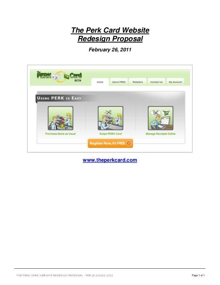 The Perk Card Website                                    Redesign Proposal                                             Feb...