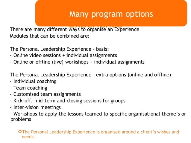 leadership personal experience If you want to deliver consistently great service and a sustainably great customer experience, your leadership focus needs to be different from what's.
