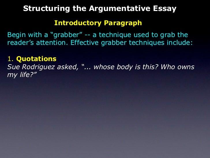 The Persuasive Essay Quotations  Structuring The Argumentative Essay