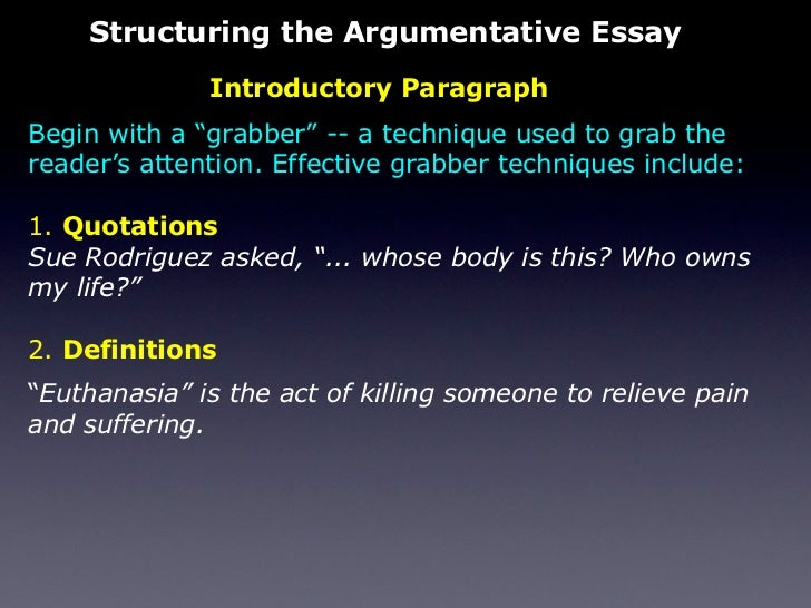 introduction to a persuasive essay on euthanasia 24 introduction and conclusion every essay or paper designed to be persuasive needs a paragraph at the the introduction of a persuasive essay or paper.