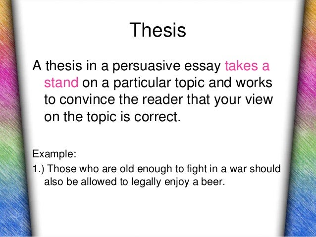 The Persuasive Essay Juniors  Thesisa Thesis In A Persuasive Essay