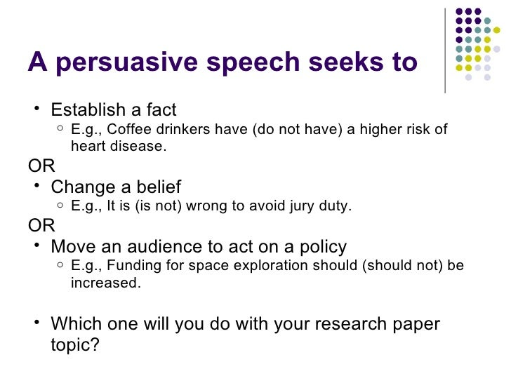 policy speech topics for a persuasive speech