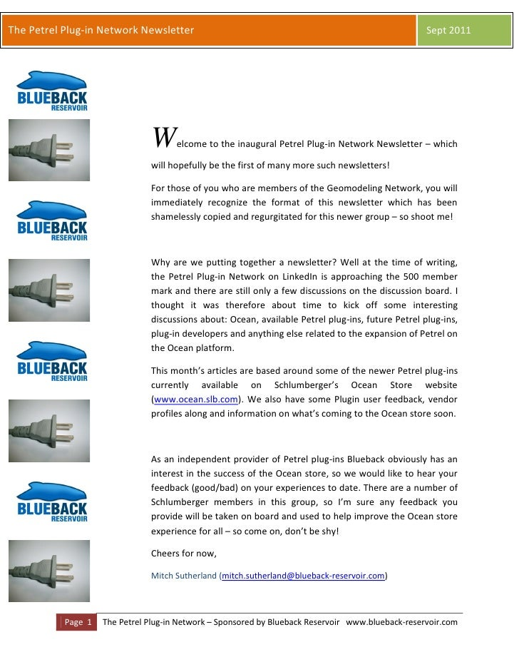 The Petrel Plug-in Network Newsletter                                                              Sept 2011              ...