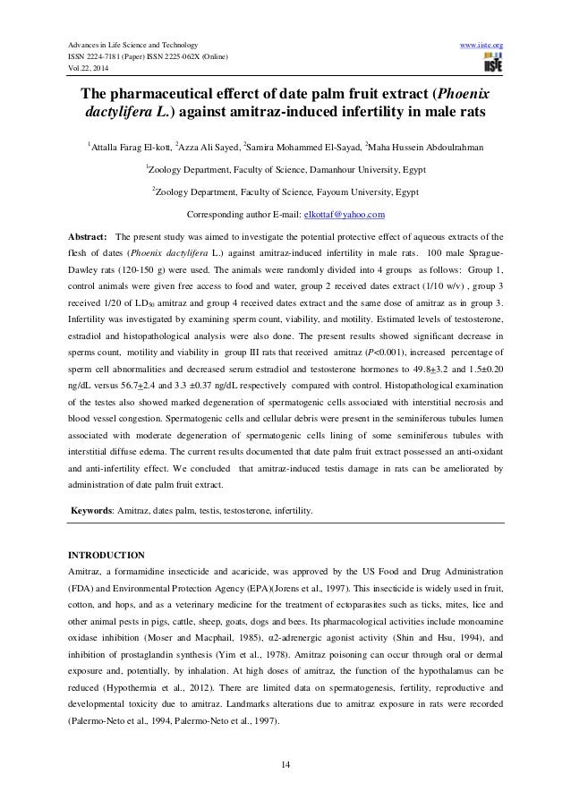 Advances in Life Science and Technology www.iiste.org ISSN 2224-7181 (Paper) ISSN 2225-062X (Online) Vol.22, 2014 14 The p...