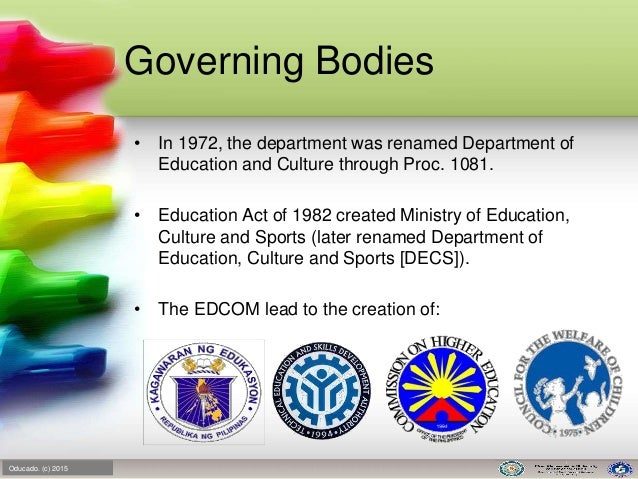 philippine educational system Three government organizations handle education in the philippines these are the department of education, culture, and sports (decs), the commission on higher.