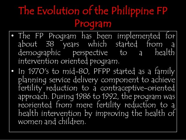 family planning in the philippines The calendar rhythm method of natural family planning (nfp) is one of the most popular contraceptive methods in the philippines as a result, the philippines has one of the highest nfp.