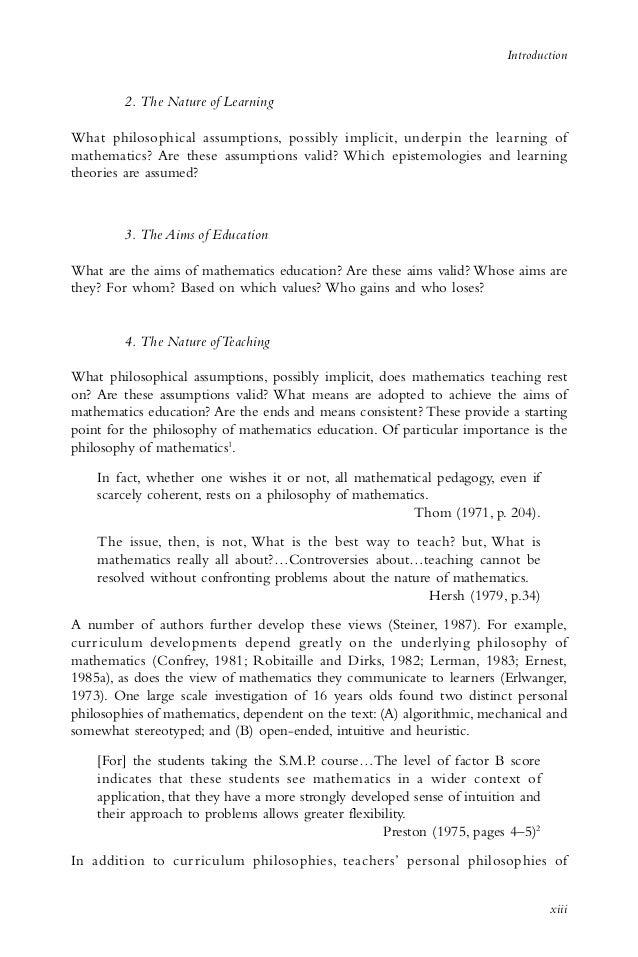 Philosophy in mathematics essay