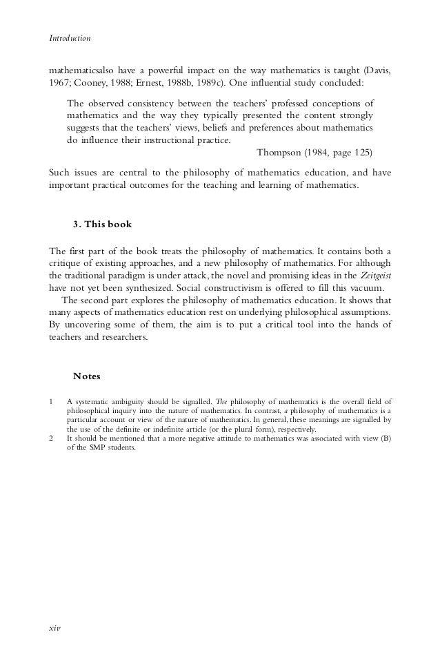 The Philosophy of mathematics education 2