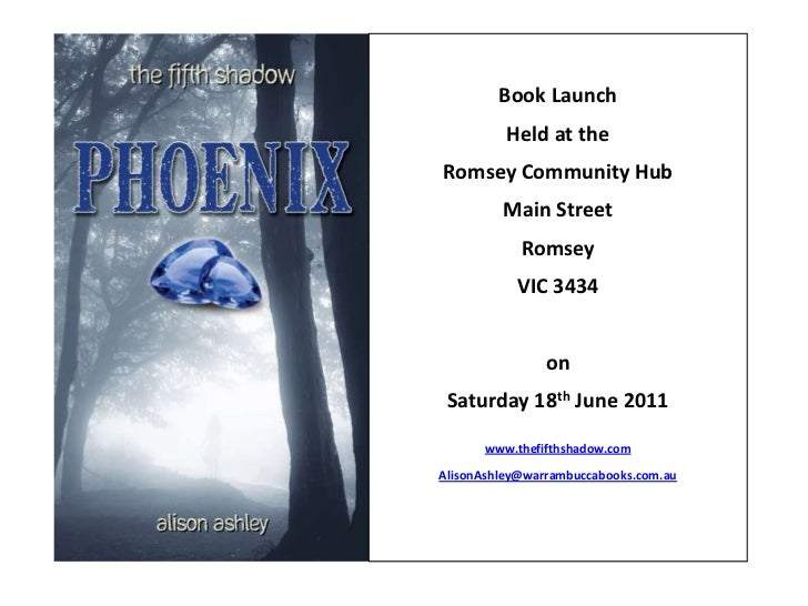 Book Launch<br />Held at the <br />Romsey Community Hub<br />Main Street<br />Romsey<br />VIC 3434<br />on<br />Saturday 1...