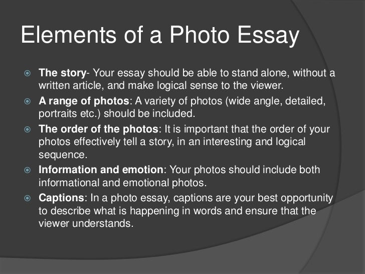 photo essays Monday we started talking about photo essays we began by looking at soundslides, a great product to use to help you produce engaging photo stories in fact, monday's.