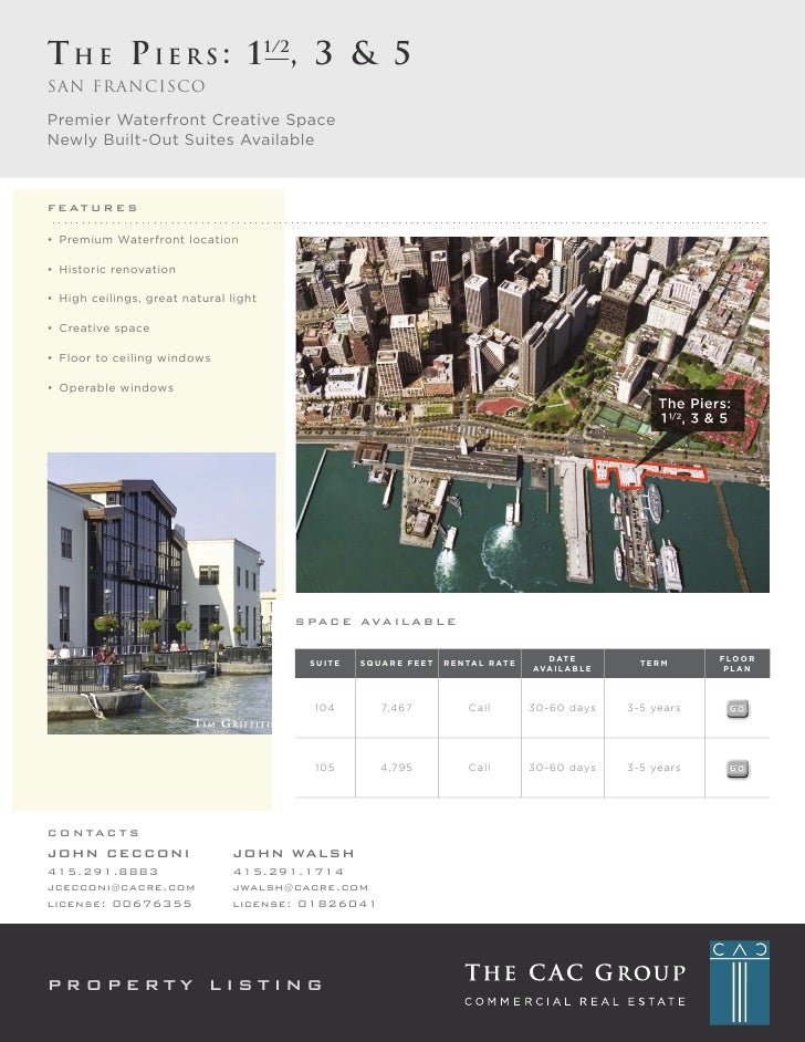 T H E P I E R S : 1 1/2, 3 & 5 San francisco  Premier Waterfront Creative Space Newly Built-Out Suites Available    / ) %$...