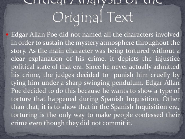 an exposition of the novel pit and the pendulum by edgar allan poe Poe's short stories summary and analysis of the pit and the pendulum one notable aspect of edgar allan poe's prose is his consistent use and discuss the novel.