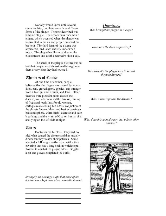 The plague worksheet – Black Death Worksheet