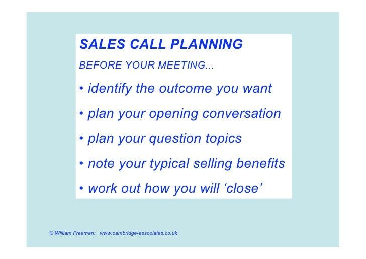 Effective Sales Campaigns and Sales Calls