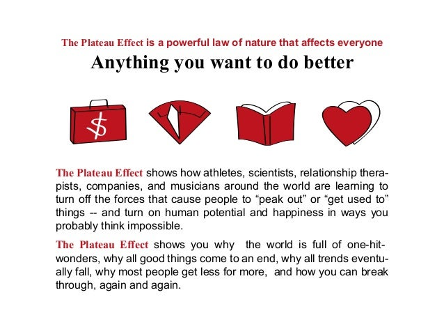 The Plateau Effect shows how athletes, scientists, relationship thera-pists, companies, and musicians around the world are...