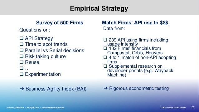 20© 2017 Parker & Van AlstyneTwitter: @InfoEcon :: mva@bu.edu :: PlatformEconomics.com Empirical Strategy Questions on: ❑ ...