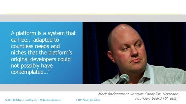 43© 2017 Parker, Van AlstyneTwitter: @InfoEcon :: mva@bu.edu :: PlatformEconomics.com A platform is a system that can be… ...