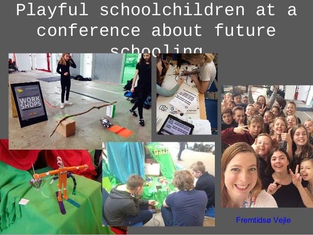 Playful schoolchildren at a conference about future schooling Fremtidsø Vejle