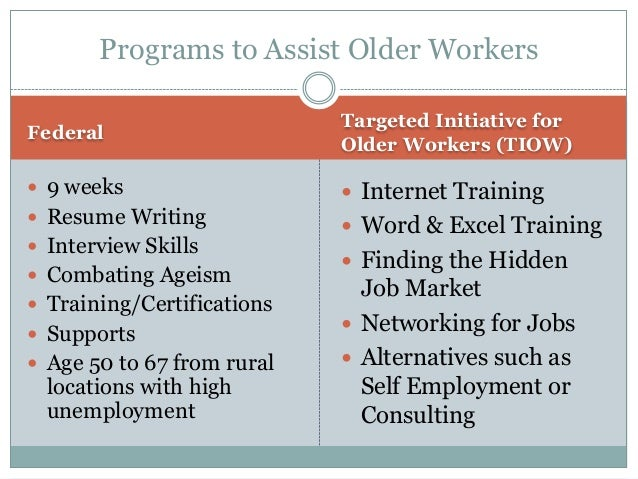 29 programs to assist older workers