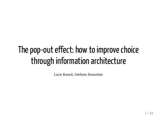 The pop-out effect: how to improve choice through information architecture Luca Rosati, Stefano Bussolon 1 / 59