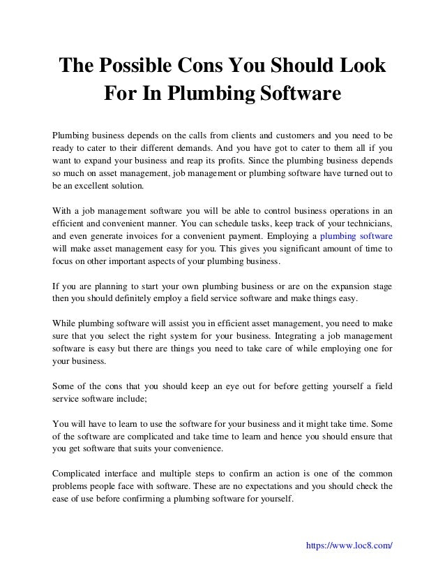 The Possible Cons You Should Look For In Plumbing Software
