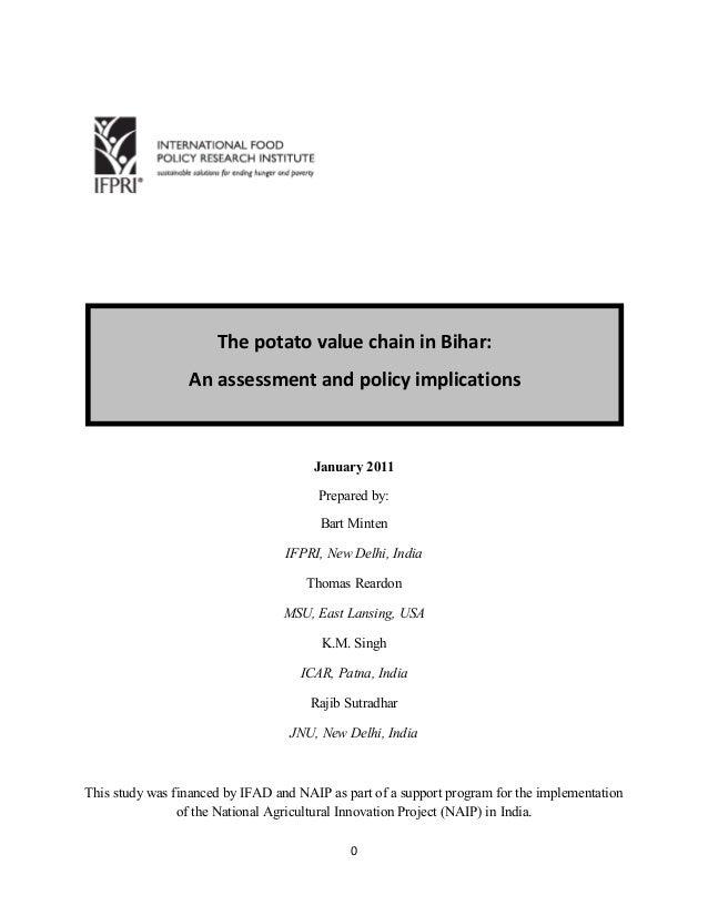 0 January 2011 Prepared by: Bart Minten IFPRI, New Delhi, India Thomas Reardon MSU, East Lansing, USA K.M. Singh ICAR, Pat...