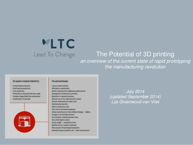 The Potential of 3D printing  an overview of the current state of rapid prototyping  the manufacturing revolution  July 20...