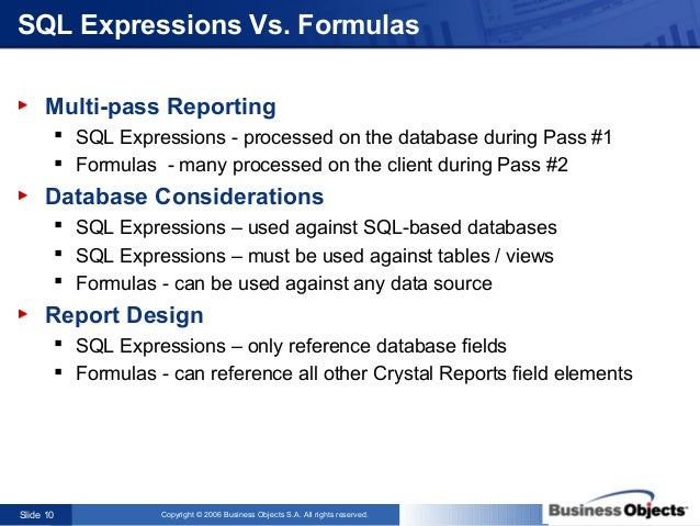 Crystal Reports - The Power And Possibilities Of Sql Expressions