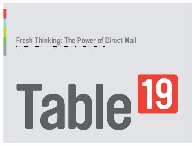 Fresh Thinking: The Power of Direct Mail ....................................................................................
