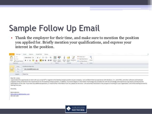 how to send a follow up email to an employer