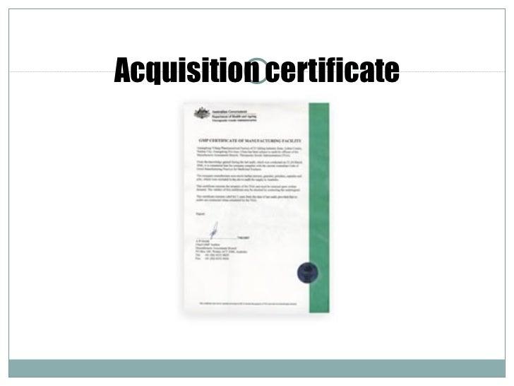 Acquisition certificate