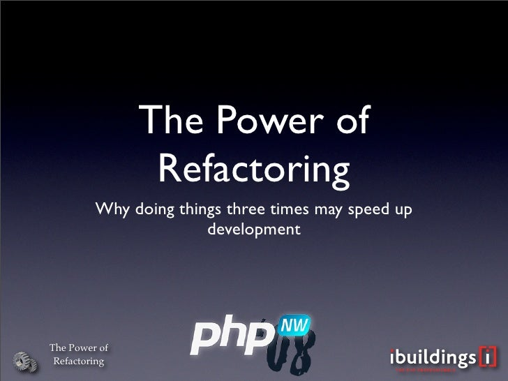 The Power of                 Refactoring          Why doing things three times may speed up                        develop...