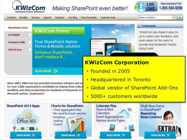 KWizCom Corporation • Founded in 2005 • Headquartered in Toronto • Global vendor of SharePoint Add-Ons • 5000+ customers w...