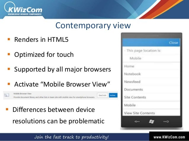 """Contemporary view  Renders in HTML5  Optimized for touch  Supported by all major browsers  Activate """"Mobile Browser Vi..."""