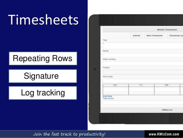 Timesheets Repeating Rows Signature Log tracking