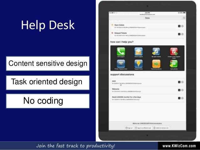 Help Desk Content sensitive design Task oriented design No coding