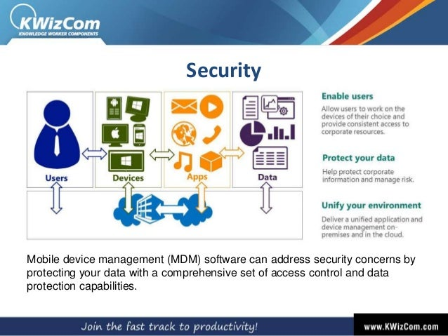 Security Mobile device management (MDM) software can address security concerns by protecting your data with a comprehensiv...