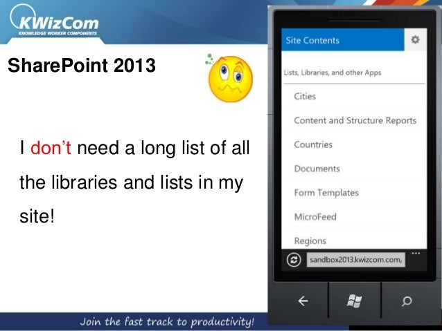 SharePoint 2013 I don't need a long list of all the libraries and lists in my site!