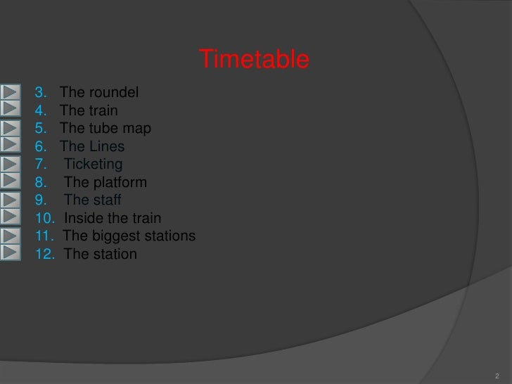 Timetable 3. The roundel 4. The train 5. The tube map 6. The Lines 7. Ticketing 8. The platform 9. The staff 10. Inside th...